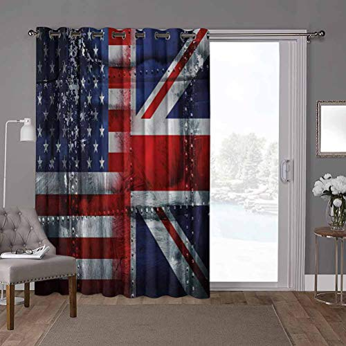 YUAZHOQI Energy Efficient Sliding Patio Door Curtain Panel, Union Jack,Alliance UK and USA, W100 x L84 Inch Vertical Blinds for Sling Door(1 Panel)