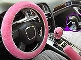 Nuovo coprivolante in peluche in finta lana, copri freno a mano, copri cambio inverno caldo universale per auto interni 3 pezzi/set (automatico, pink)