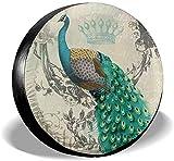 PageHar Protectores de Llantas Resistente a la Intemperie, Cubierta para llanta de Repuesto, Cubiertas para Ruedas de poliéster, Cubierta para llanta Peacock Art