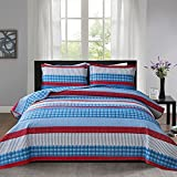 3-Piece Blue Red Stripe Reversible Quilt Set with Shams Full/Queen (90in. X 90in.) All-Season Bedspread Coverlet with Striped Pattern Lightweight Daybed Blanket Bed Cover Bedding Set (Queen,Blue)