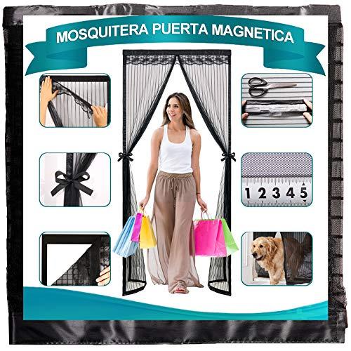 Magnetica Corredera Cortina 190x230cm, Tejido Súper Fino Mosquiteras Enrollables Dejar Pasar El Aire, para Pasillos/Puertas. - Negro