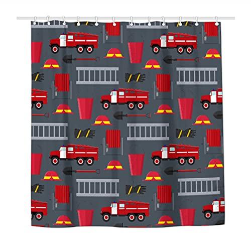 Duschvorhang Feuerwehr-LKW wasserdichter Polyester-Stoff Duschvorhänge für Badezimmer mit 12 langlebigen Kunststoffhaken 183,9 x 183,9 cm