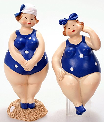 Schick-Design 2 Badenixen - Blau - Stehend und sitzend 10 cm im Badeanzug mit Kopftuch Mädchen Rubensfrau Mollige Dame Dicke Frau Badezimmer Kantenhocker Figur