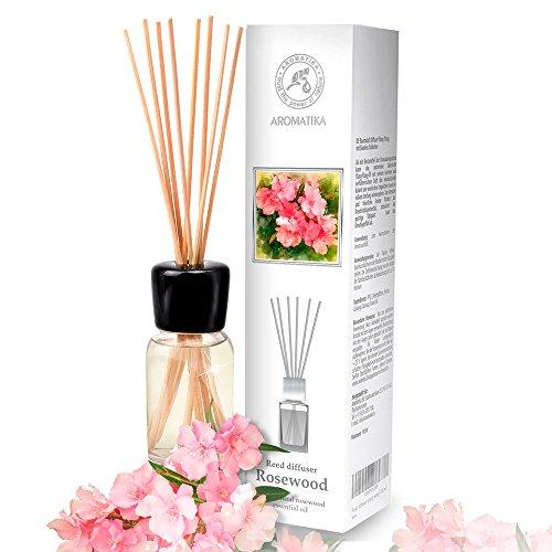 Parfum de Ambiance Bois de Rose 100ml - Parfumé à l'huile Naturelle de Bois de Rose - Fragrance Fraîche et Durable - avec 8 bâtons de Bambou est Le Meilleur pour Aromathérapie - Accueil