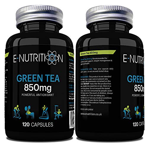 Green Tea Extract 120 Capsules Not Tablets | Four Month Supply | Supplement | Made in UK | E-Nutrition