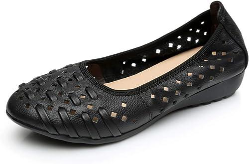 LXJL Dames en Cuir Plates Occasionnels Dames Fond Mou Sandales à Trou Creux antidérapantes Chaussures compensées Chaussures de Travail,a,41