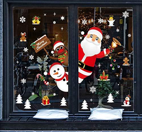 Tuopuda Natale Vetrofanie Adesivi Murali Rimovibile Fai da Te Finestra Decorazione Vetrina Wallpaper di Neve Christmas Decor Babbo Pupazzo di Neve (colorato)