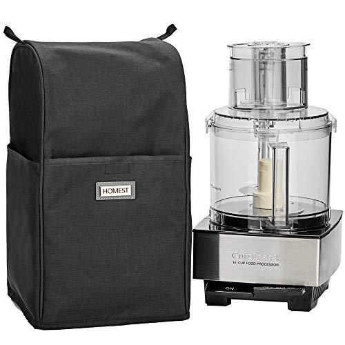 HOMEST Food Processor Dust Cover with Accessory Pockets Compatible with Cuisinart Custom 11-14 Cup, Black (Dust Cover Only, Patent Pending)