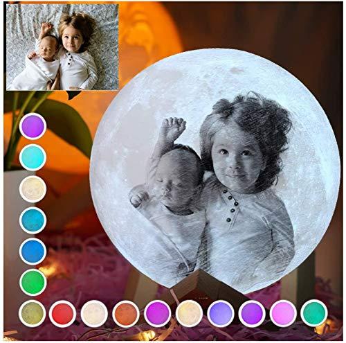 Mondlicht Lampe,mit Eigenem Foto Personalisiertes Mondlicht 3D Bedrucken 16 Farben Touch Dimmbar LED Mondlampe Fernbedienung und Touch-Steuerung