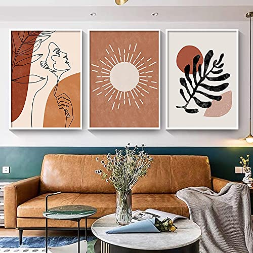 Abstracte Zon Maan Boho Canvas Schilderij Prints Posters Lijn Tekening Mode Vrouw Wall Art voor Woonkamer Decor Foto…