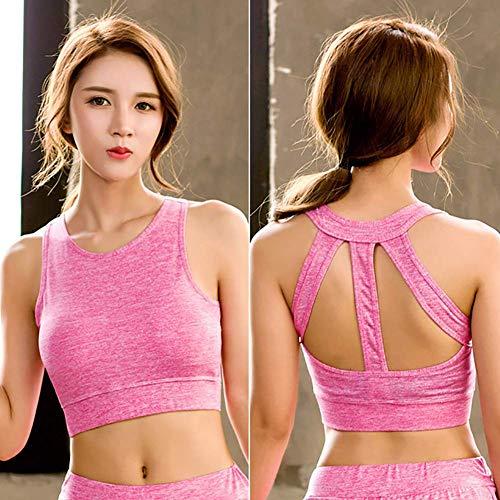 WYZXR Damen Sport-BH High Impact Cross Back Support BH Gepolsterte Nahtlose Trainings-BHS zum Laufen Yoga Gym Dancing Jogging-Übung, D, M.