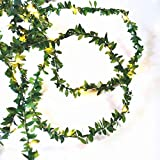 Kitstar 30LEDs Battery Powered Green Leaf Rattan Garland String Light Warm White Wedding Party Christmas Holiday Patio Decoration 10ft, UL588 Approved