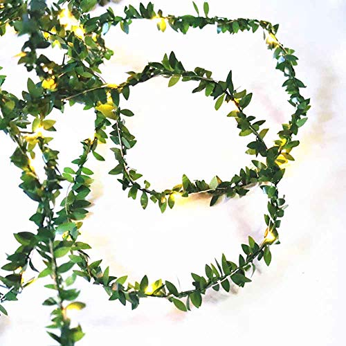 Kitstar 20LEDs USB Powered Green Leaf Rattan Garland String Light Warm White Wedding Party Christmas Holiday Patio Decoration 66ft UL588 Approved