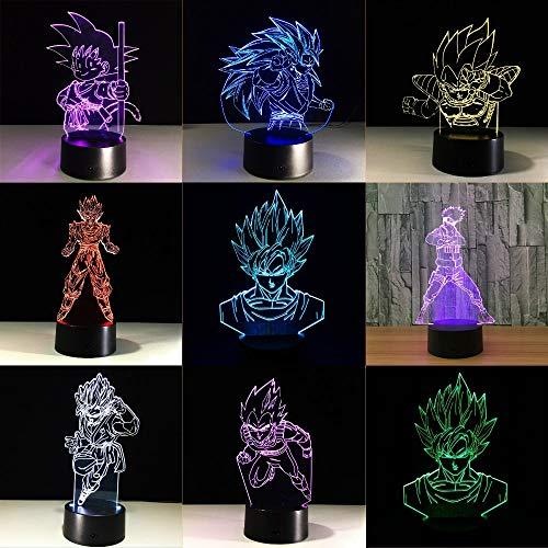 Dragon Ball Super Saiyan Goku Action Figure Boys 3D LED Night Light Table Lamp Bedside Decoration Kids Gift