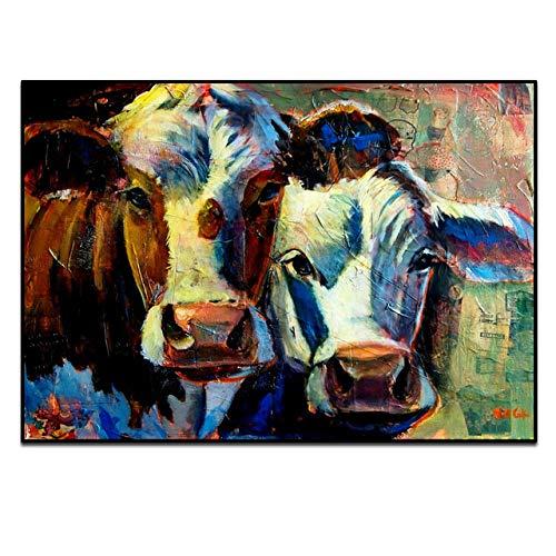 YB Kleurrijke koeien, abstracte kunst foto's voor de woonkamer, moderne dier, canvasdruk, decoratief schilderij, muurkunst, pictures-B_50x70 cm, geen lijst