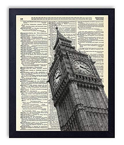Big Ben London England Vintage Upcycled Dictionary Art Print 8x10 inches, Unframed