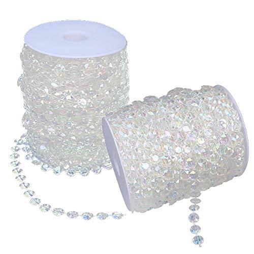 INHEMI 30m Kristalle Glas Perlen, Irisierend Kristall Diamant Girlande Acryl Perlen für DIY Hochzeit Party Dekoration (Transparent)