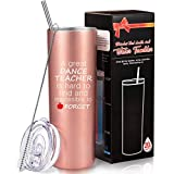 Dance Teacher Appreciation Gift for Women, Vacuum Travel Mug Dancing Gift for Teacher and Instructor, 20 oz Stainless Steel Travel Water Tumbler with Straw and Cleaning Brush
