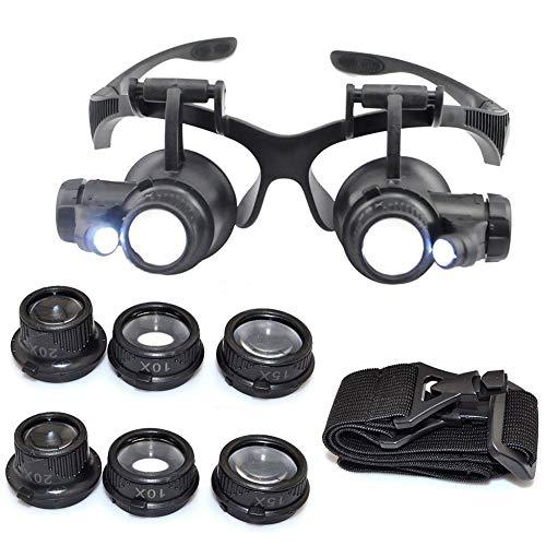 ZZH 10/15/20/25X Juwelier Uhrmacher Lupe Lupenbrille LD Licht Uhr Reparatur