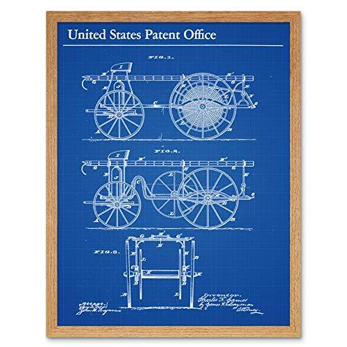 James Gecombineerde slanghaspel Ladder Truck 1883 Patent Wall Art Print Omlijst 12x16