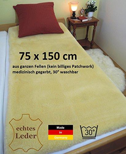 Lammfell Bettauflage, Lammfelldecke LANABEST 75 x 150 cm. Deutsche Premium Qualität. Aus echtem Merino Lammfell. Schadstoffarm, Öko-Tex zertifiziert. Medizinische Gerbung, 30°C waschbar. Lammfelle und Bettauflagen werden zu 100% in Deutschland hergestellt. Hautfreundlich und auch für Kinder geeignet.LANABEST 75 x 150 cm
