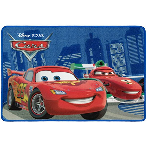 BilligerLuxus Kinderteppich Cars 2 McQueen vs Francesco rot blau