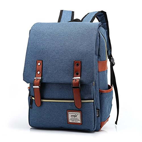TININNA Unisex Vintage Canvas Backpack Satchel Rucksack Daypack Shoulder School Bag Schoolbag for Women Ladies Girls Deep Blue