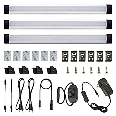 LED Cabinet Lighting Kit with Plug in Adapter, 12v Dimmable Switch Control Under Counter Lights Set for Kitchen Cabinets Counter, Shelf, Showcase, Display Lighting.