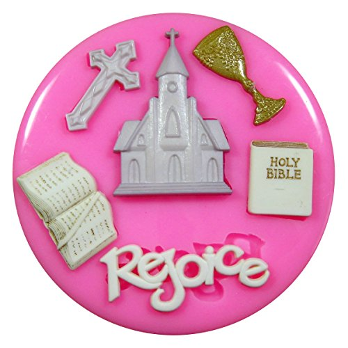 Primera Iglesia de la Comunión Religión Molde de silicona para la torta de Decoración Pastel de Cupcake Toppers Glaseado Sugarcraft Tool por Fairie Blessings