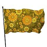 Bandera de jardín de pintura al óleo de girasol vintage Bandera de interior al aire libre 3 x 5 pies, banderas de playa duraderas y resistentes a la decoloración con encabezado, fácil de usar