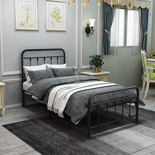 Metal Bed Frame Twin Size Platform with Vintage Headboard and Footboard Sturdy Premium Steel Slat Support Textured Black