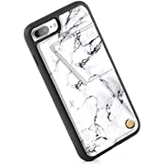 ZVEdeng iPhone 7 Plus Wallet Case with Card Holder, PU Leather iPhone 8 Plus Printed Case, iPhone 8 Plus Case with Credit Card Slot Holder Shockproof Cover for iPhone 7 Plus / 8 Plus - White Marble