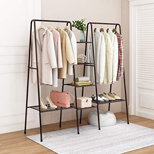 HOMERECOMMEND Large Clothes Rail Clothing Rack Stand, Metal Coat Rack, Coat Rack, Top Rod Metal and Shoe Rack Large Storage Space Brown