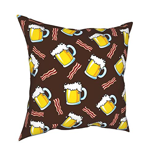 Octoberfest Beer Mug and Bacon Throw Pillow Covers 18 X 18 Inch Cushion Decorative Square Pillowcases for Couch Sofa Bed Decor