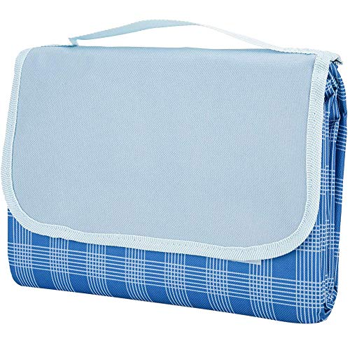 Moligin - Manta de picnic portátil para exteriores, tamaño grande, con asa de transporte para senderismo, viajes, color azul 150 x 100 cm, para camping