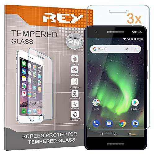 REY Pack 3X Panzerglas Schutzfolie für Nokia 2.1 / Nokia 2 2018, Bildschirmschutzfolie 9H+ Festigkeit, Anti-Kratzen, Anti-Öl, Anti-Bläschen