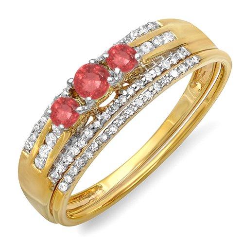 DazzlingRock Collection Juego de Compromiso de Anillo de Piedra Nupcial de Piedra de Oro Amarillo de 18 Quilates con rubíes rubios y Diamantes 8