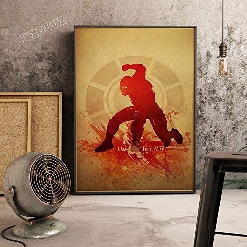 SDFSD Kreative Aquarell Klassische Superhelden Kunst Retro Poster Wohnkultur Kinderzimmer Kinderzimmer Dekoration Leinwand Malerei 90 * 120cm J.