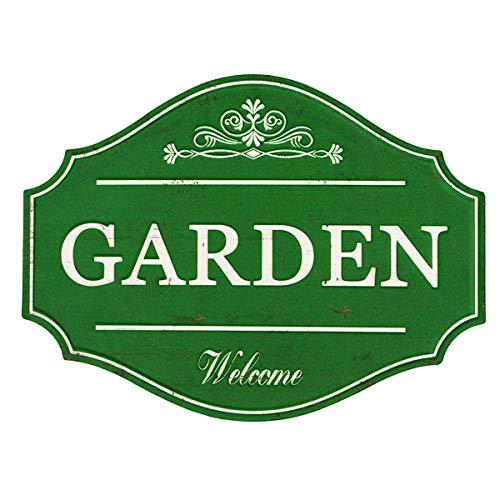 Divertido mee Vintage Metal Garden Sign con acabado verde envejecido, placa decorativa rústica de pared de jardín de 40,2 x 22,5...