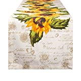 DII Cotton Table Runner for Dinner Parties, Weddings & Everyday Use, 14x108, Rustic Sunflowers