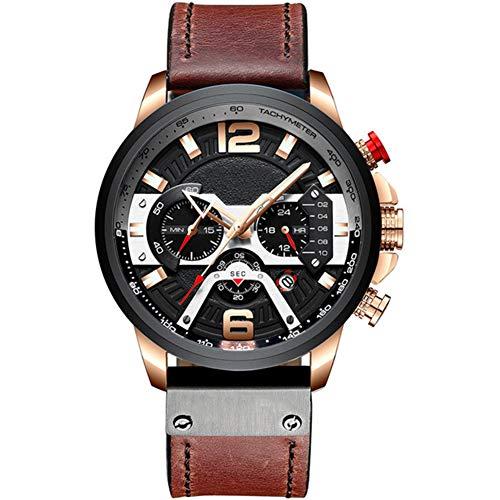 Herenhorloge, stijlvol casual horloge Multifunctioneel quartz horloge Waterdicht horloge met lichtgevende chronograaf datumfunctie,Red