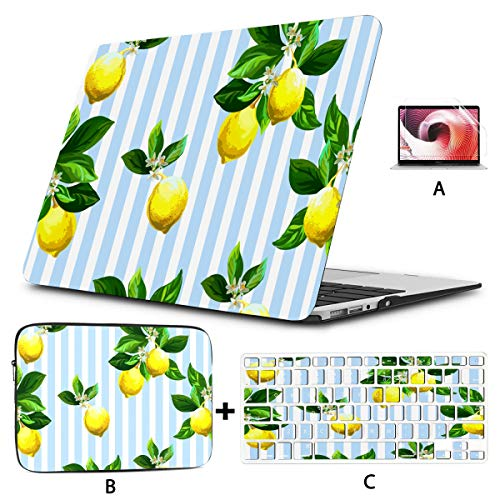 Macbook 15 Case Citrus On Striped Mac Book Pro Cover Hard Shell Mac Air 11'/13' Pro 13'/15'/16' With Notebook Sleeve Bag For Macbook 2008-2020 Version