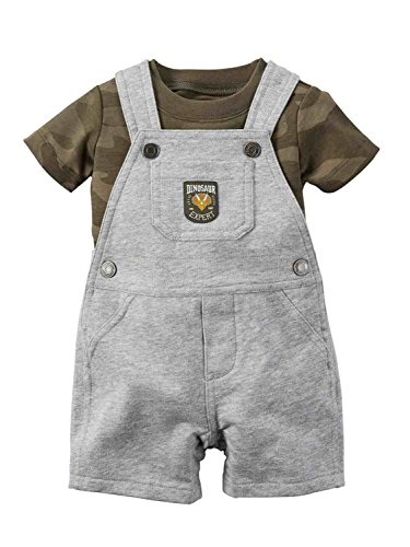 Carters's Kurze Latzhose + T-Shirt Sommer Set Baby Junge Shorts Camouflage Tarnfarbe grau Outfit Boy (0-24 Monate) (18 Monate, grau)