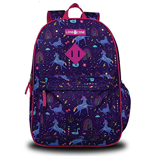 LONECONE Kids' 17' Backpack w/Laptop Sleeve for Elementary School, Unicorn Dreams