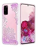 Casetego Compatible Galaxy S20 Case,Clear Soft Flexible TPU Case Rubber Silicone Skin with Flowers Floral Printed Back Cover for Samsung Galaxy S20 6.4 inch,Purple Flower