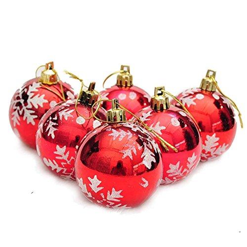 Fulltime® Décorations de Noël, 6pcs balles de Noël Boules Party Arbre décorations décoration Ornement (Rouge)