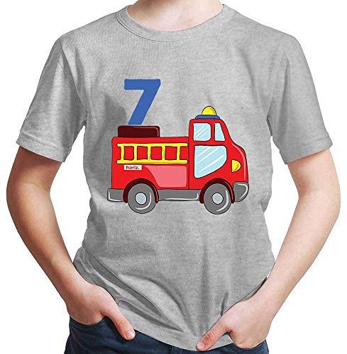 Hariz - Camiseta para niño con diseño de coche de bomberos, incluye tarjeta de regalo gris claro 128