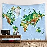 KHKJ Tapiz de Mapa del Mundo con Estampado de Estilo nórdico, Toalla de Playa Colgante, Manta Fina, Bufanda de Yoga, Esterilla A3 230x180cm
