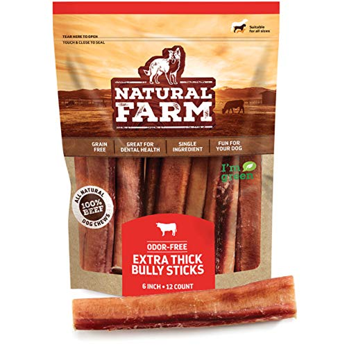 Natural Farm Bully Sticks - Odor Free, Extra-Thick Dog Treats, 6-Inch Long (12-Pack)  Fully Digestible 100% Beef Treats, Supports Dental Health  Keep Your Dog Busy with 50% Longer Lasting Chews