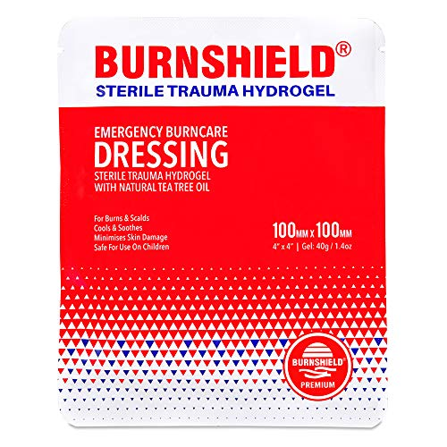 Burnshield Premium Sterile Emergency Burn Dressing 4x4 (10cm x 10cm) Cools The Burn by Burnshield